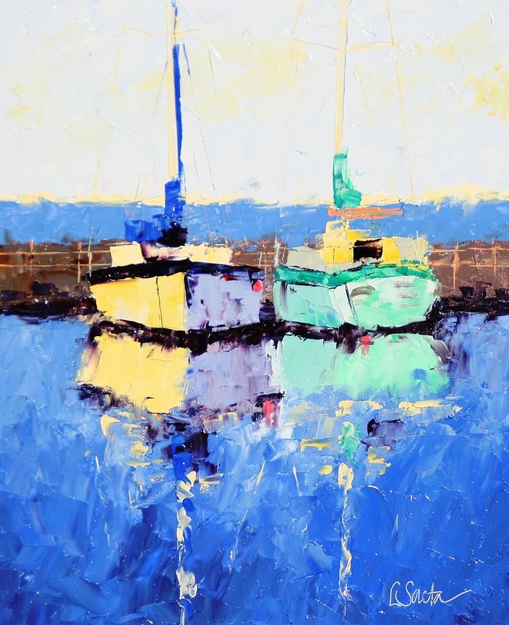Paintings Painting - Lahaina Boats by Leslie Saeta