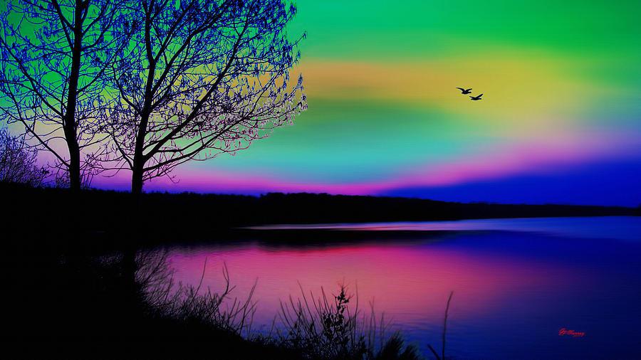 Water Digital Art - Lake 4 by Gregory Murray