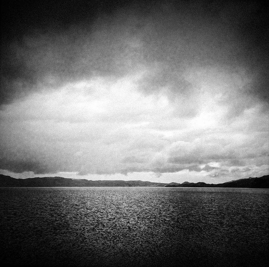 Lake Photograph - Lake And Dramatic Sky Black And White by Matthias Hauser
