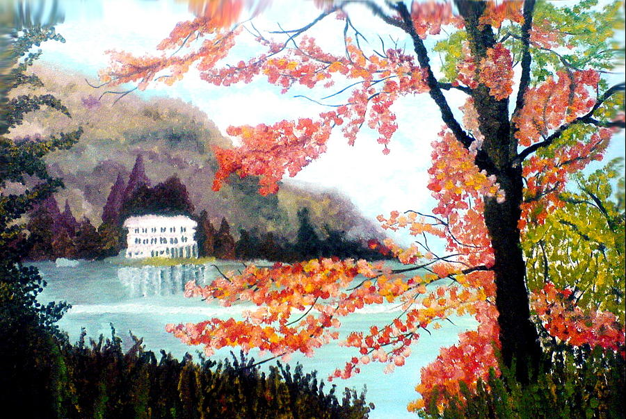 Landscape Painting - Lake And Tree by Anila Choudary