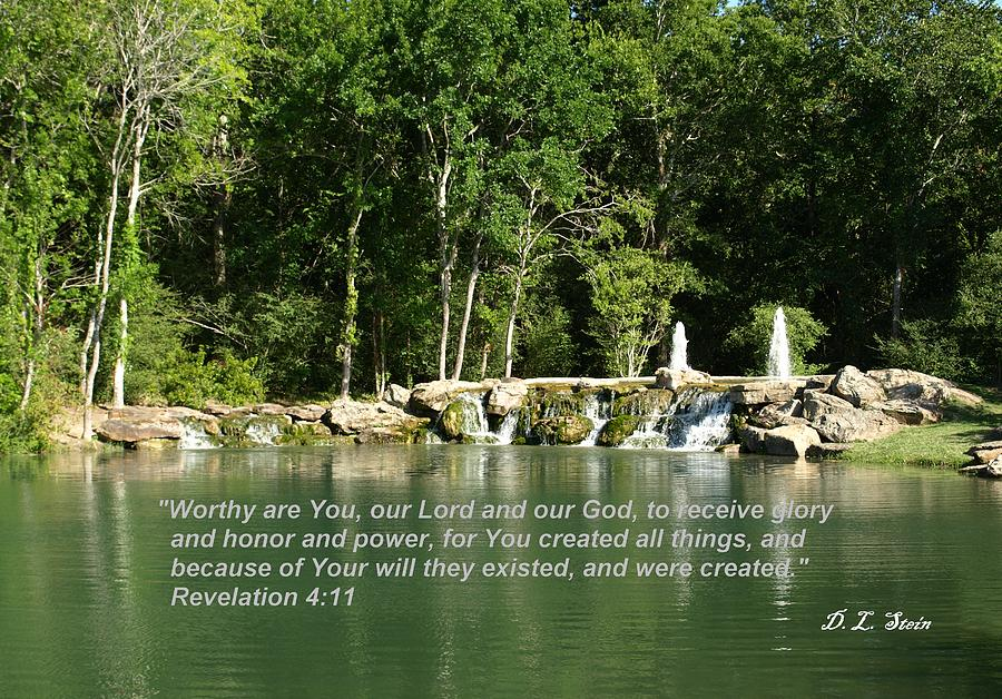 Lake Photograph - Lake At Cinco Ranch With Scripture by Dennis Stein