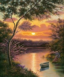 Lake At Sunset Painting by Suleyman Mavruk