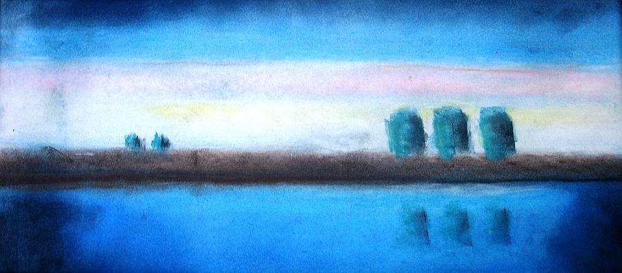 Painting Pastel - Lake At Sunset by Thomas Armstrong