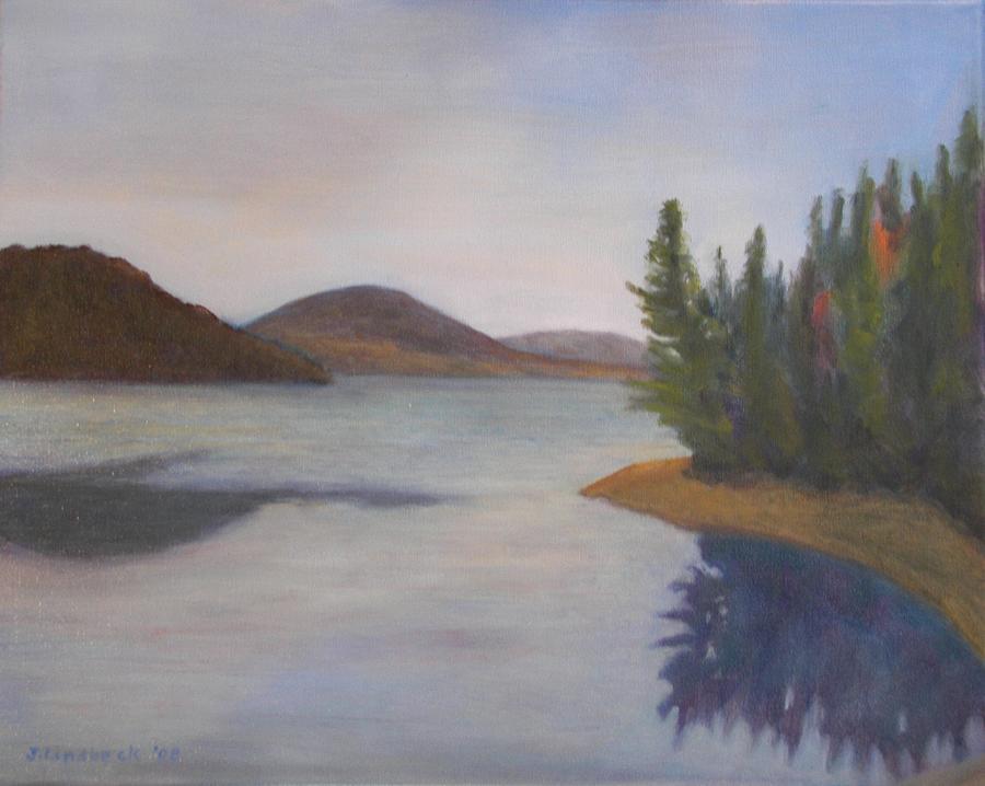 Lake Painting - Lake Aziscohos by John Lindbeck