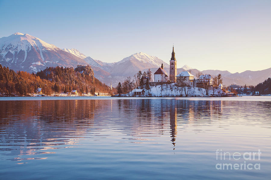 Aerial Photograph - Lake Bled Winter Sunrise by JR Photography