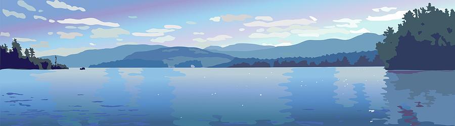Lake Painting - Lake Blues by Marian Federspiel