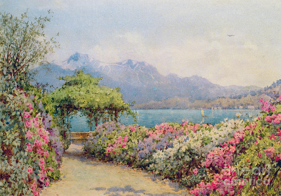 Landscapes Painting - Lake Como From The Villa Carlotta by Ernest Arthur Rowe