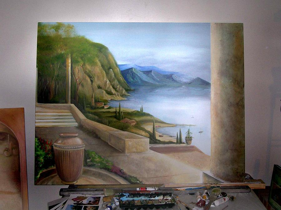 Como Painting - Lake Como by Leyla Uzdenova