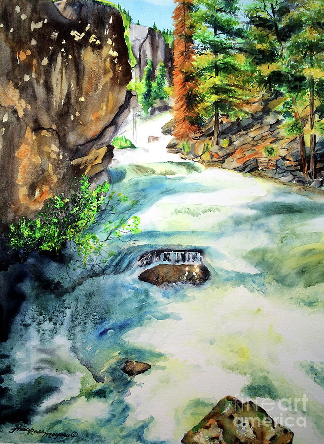 Waterfall Painting - Lake Como Waterfall by Tracy Rose Moyers