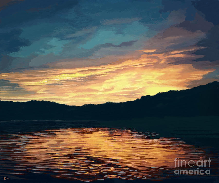 Lake Effects Sunset in Yellow and Orange by Jackie Case