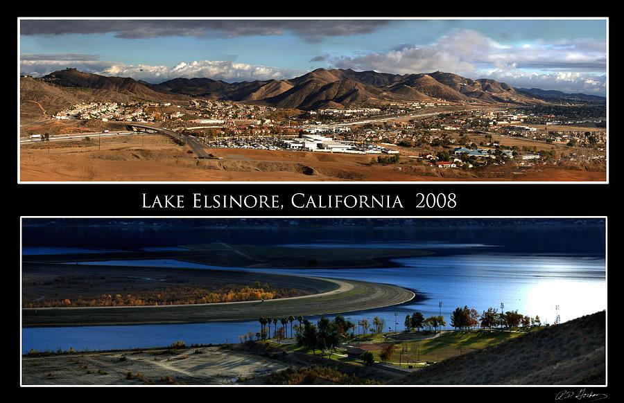 Landscape Photograph - Lake Elsinore  180 degrees by Richard Gordon