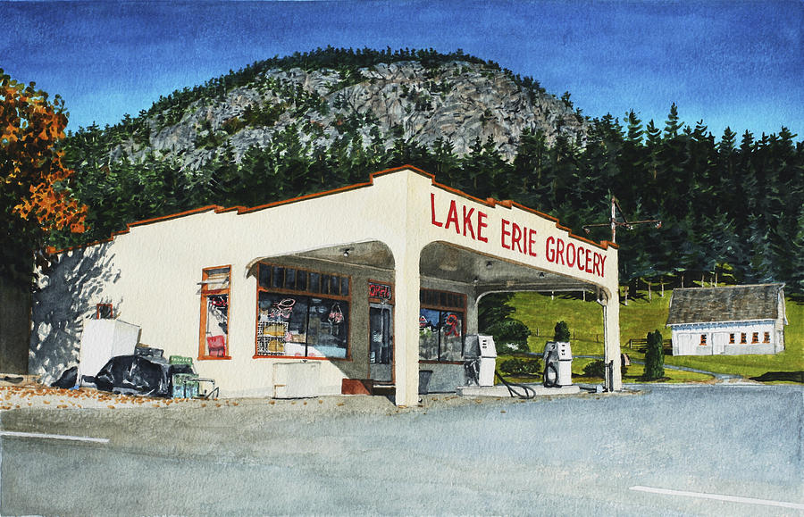 Landscape Painting - Lake Erie Grocery by Perry Woodfin