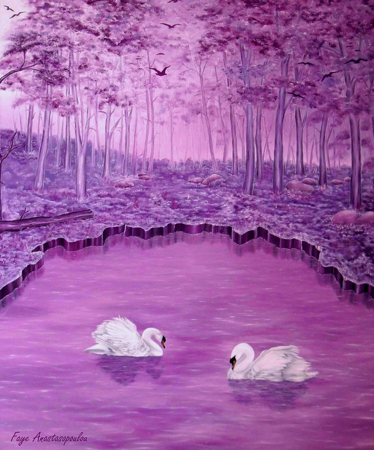 Forest Painting - Lake Fantasy by Faye Anastasopoulou