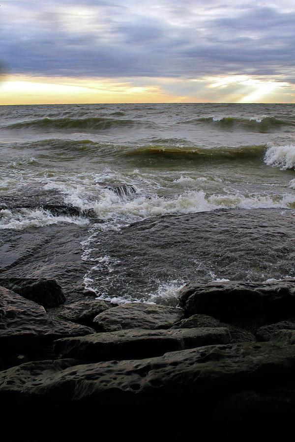 Lake Photograph - Lake Flowing over Rocks by Angela Murdock