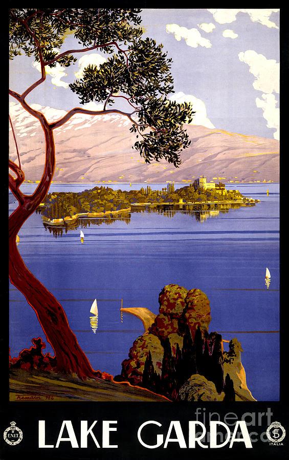 Lake Garda Painting - Lake Garda Vintage Poster Restored by Carsten Reisinger