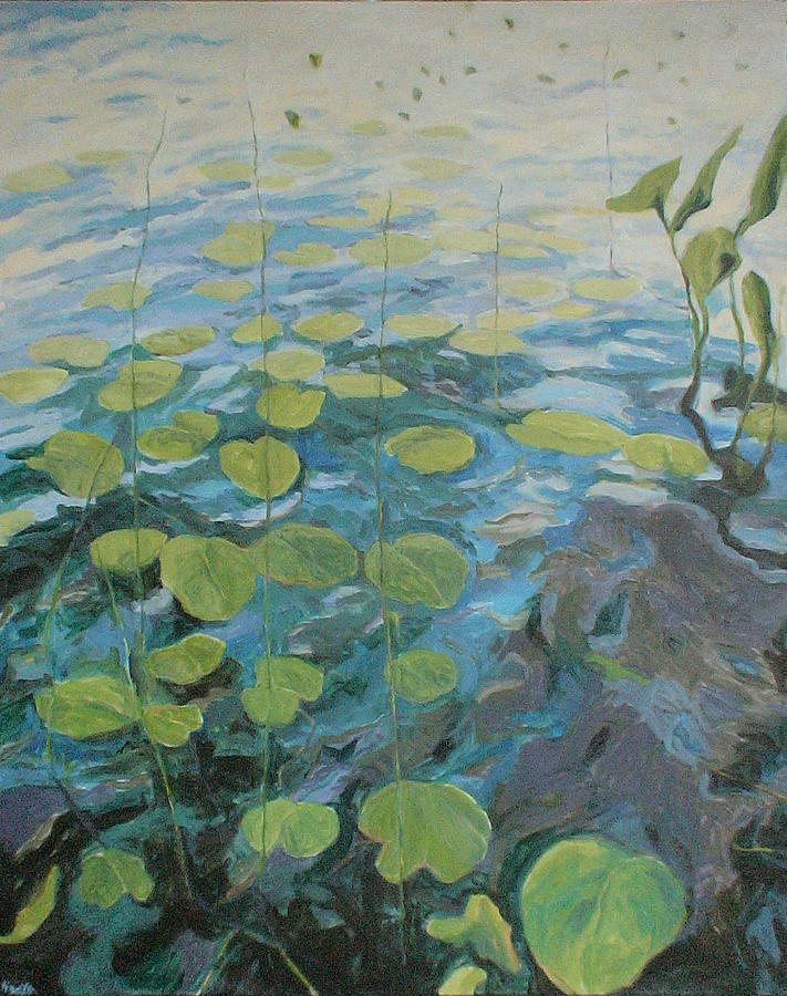 Water Painting - Lake George Lily Pads by Jackie Hoats Shields
