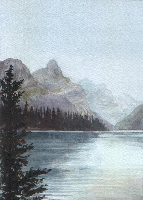 Watercolor Painting - Lake Helevorn by Brenda Owen