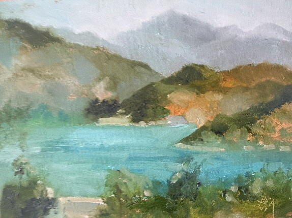 Landscape Painting - Lake Hodges by Bryan Alexander