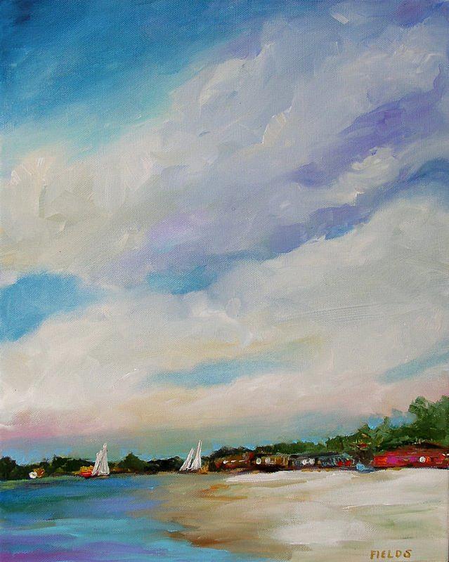 Lake Painting - Lake House by Karen Fields