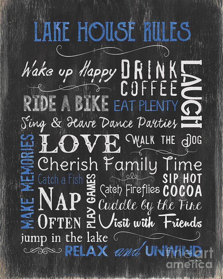 Lake Painting - Lake House Rules by Debbie DeWitt