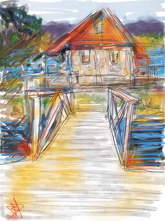 Lake Digital Art - Lake House by Russell Pierce