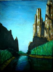 Landscape Painting - Lake In Ksa by Zak Eissa