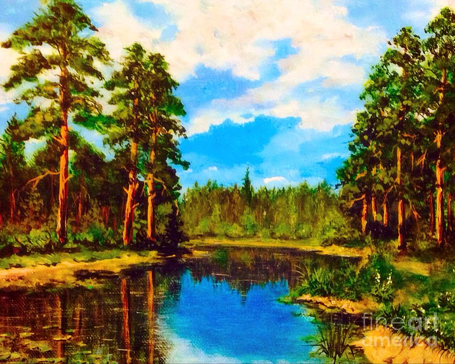 Forest Painting - Lake In The Forest  by Alexander Gatsaniouk