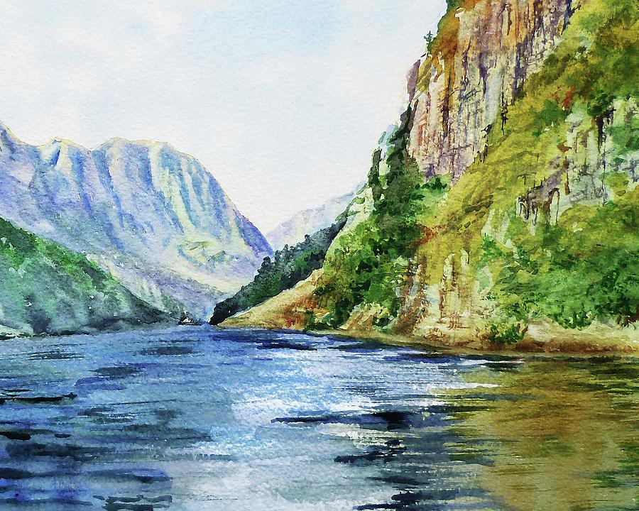 Mountain Lake Painting - Lake In The Mountains Watercolor by Irina Sztukowski