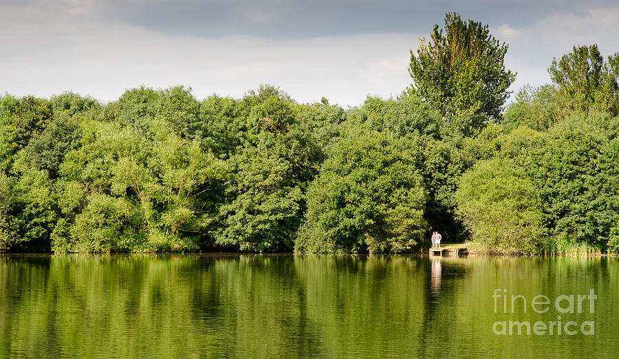 Berkshire Photograph - Lake Jetty Dinton Pastures Lakes And Nature Reserve Shore Line by Andy Smy