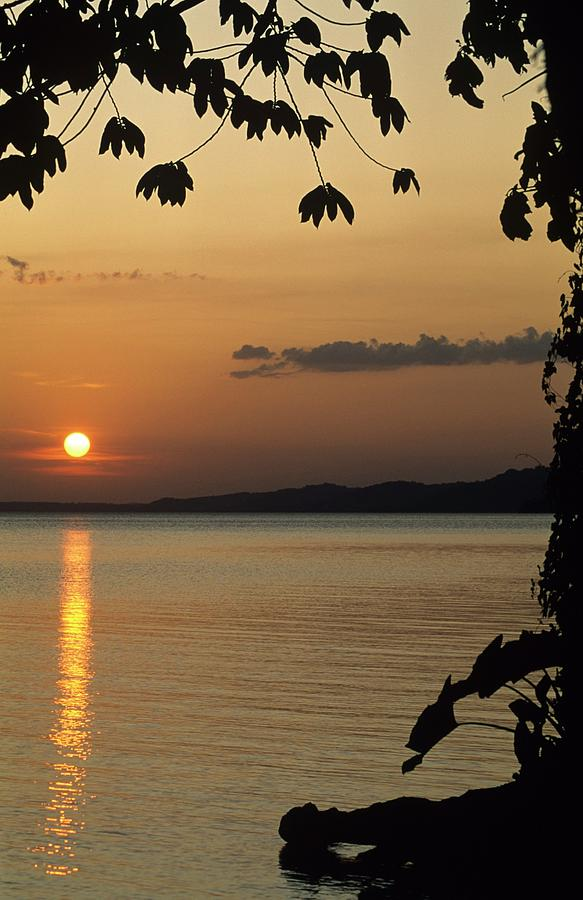 Central America Photograph - Lake Lago And Sunset by Don Kreuter