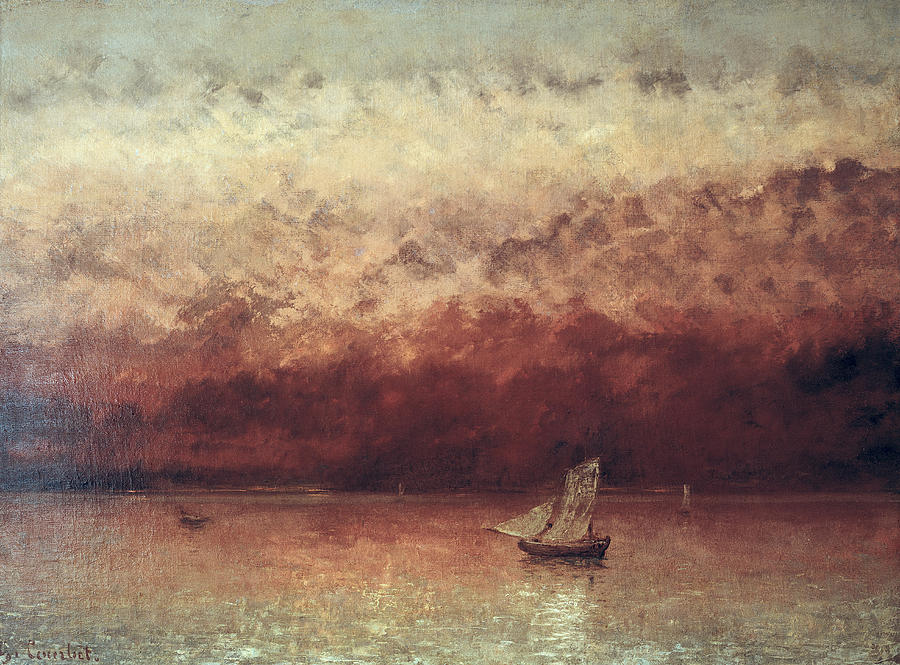 Lake Painting - Lake Leman With Setting Sun by Gustave Courbet