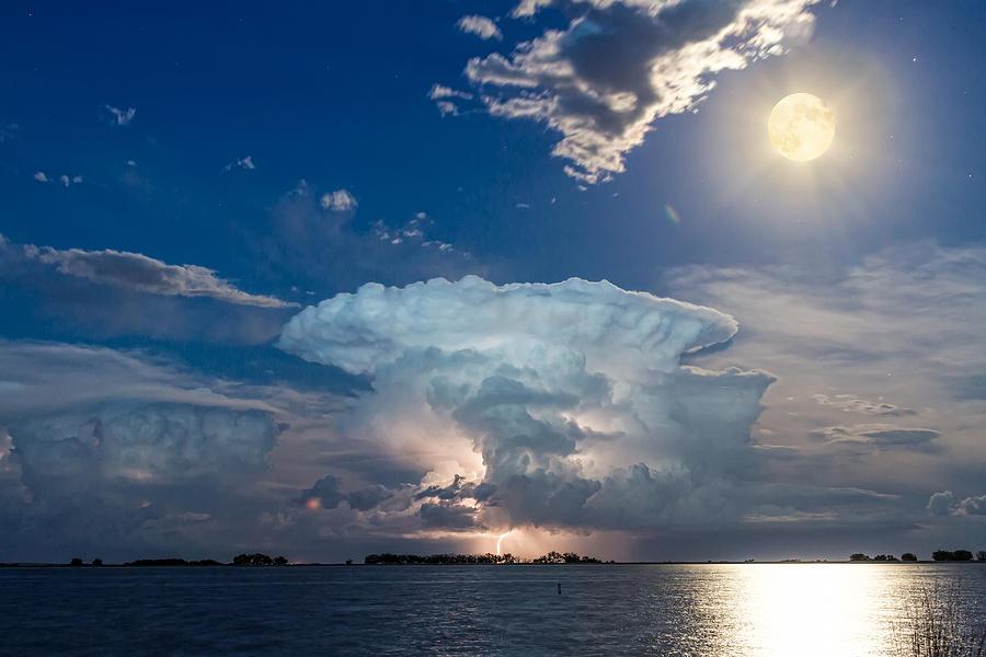 Lake Lightning Thunderstorm Striking And Full Moon Photograph
