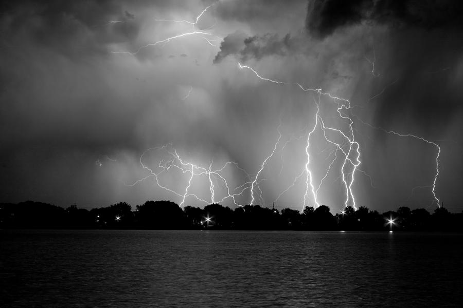 Lightning Photograph - Lake Lightning Two Bw by James BO  Insogna