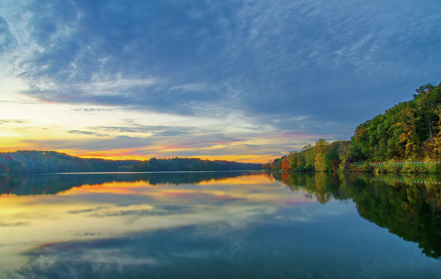 Lake Logan State Park Blue Hour After Sunset Hocking Hills State Park Oh Photograph By Ina Kratzsch