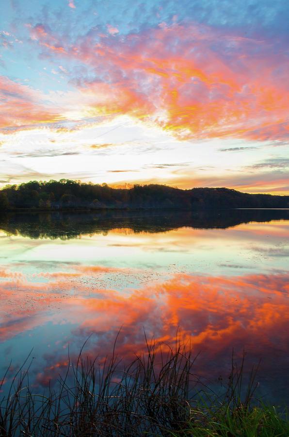 Lake Logan State Park Sunset Hocking Hills Ohio Photograph By Ina Kratzsch