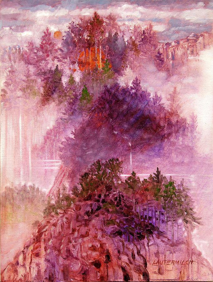 Landscape Painting - Lake Memories by John Lautermilch