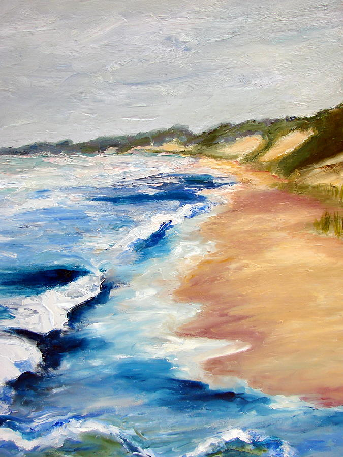 Whitecaps Painting - Lake Michigan Beach With Whitecaps Detail by Michelle Calkins