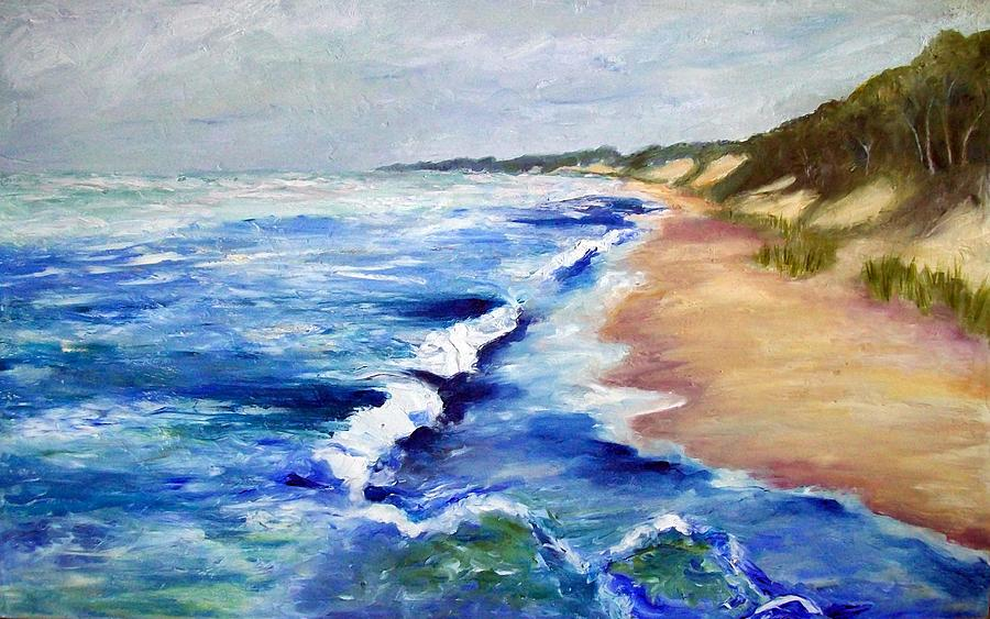 Whitecaps Painting - Lake Michigan Beach With Whitecaps by Michelle Calkins