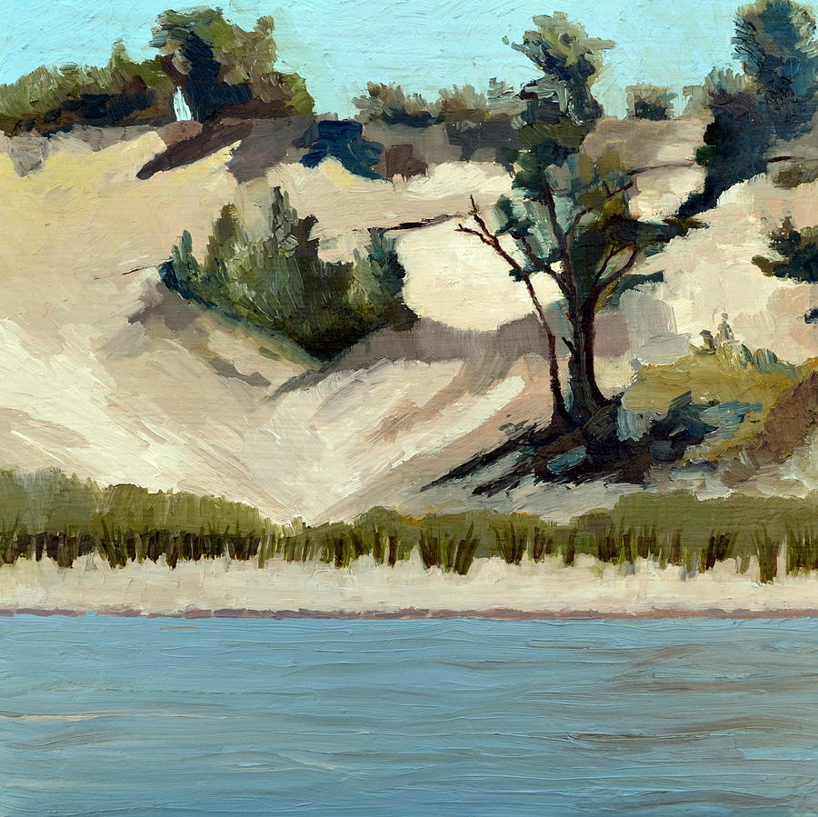 Lake Michigan Dune with Trees and Beach Grass by Michelle Calkins
