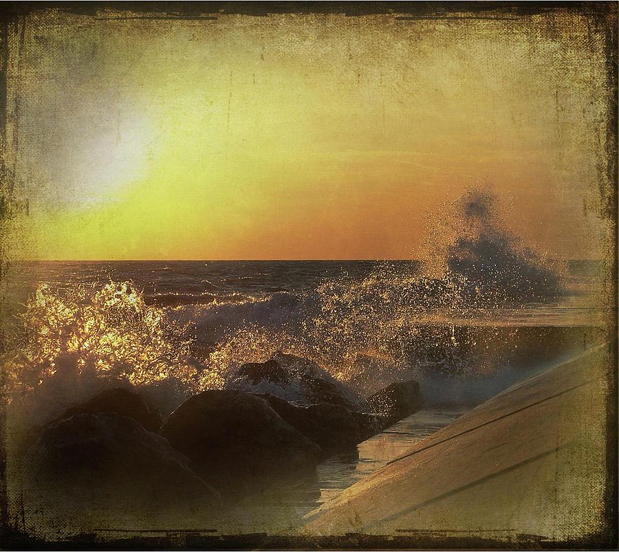 Lake Michigan Mixed Media - Lake Michigan Sunset by Maria Dryfhout