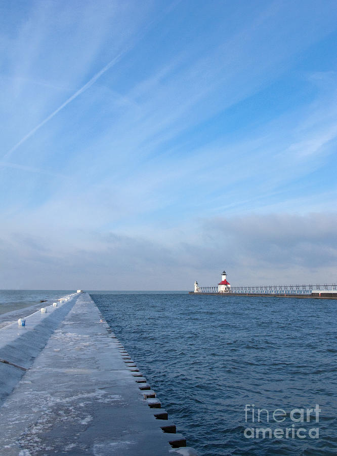 Pier Photograph - Lake Michigan Winter by Ann Horn