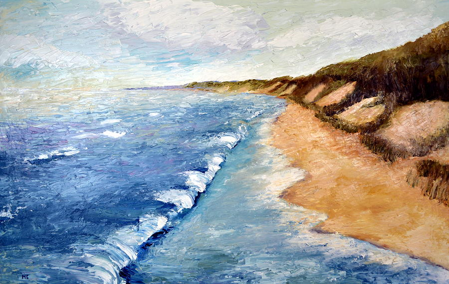 Whitecaps Painting - Lake Michigan With Whitecaps Ll by Michelle Calkins