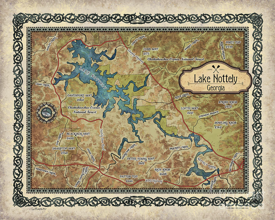 Lake Nottely, Lake Gifts, Hand-painted Historic Map, Rustic Decor, Lake  Life, Lake House, Cabin