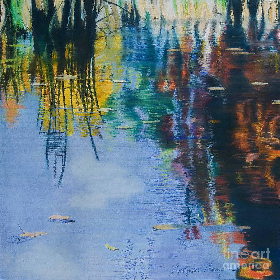 Water Reflections Painting - Lake Pearl Reflections by Lucinda  Hansen