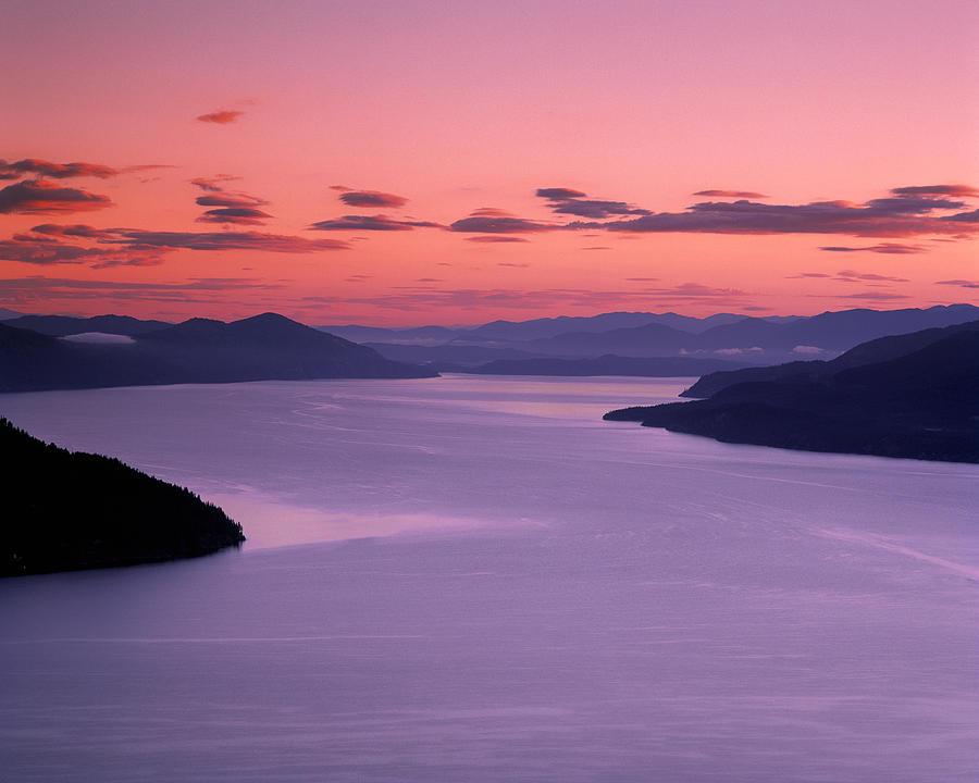 Lake Pend Oreille Photograph - Lake Pend Oreille Sunset by Leland D Howard