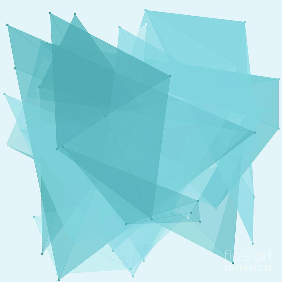 Abstract Digital Art - Lake Polygon Pattern by Frank Ramspott