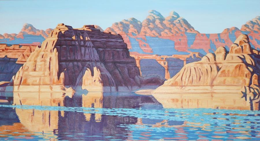Lake Painting - Lake Powell From Shore  by Allen Kerns