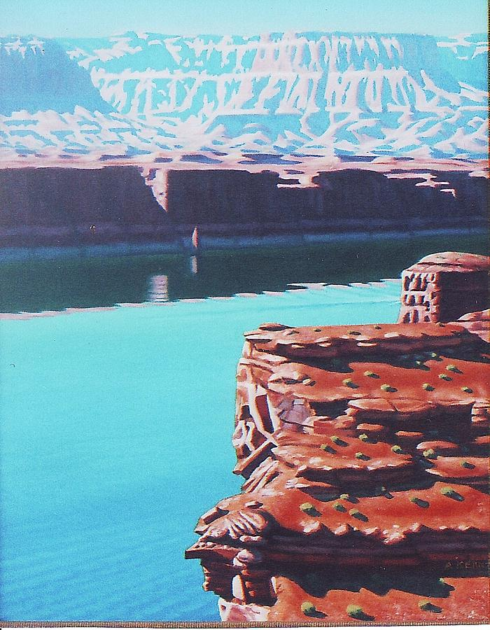Oil Painting - Lake Powell Overlook by Allen Kerns