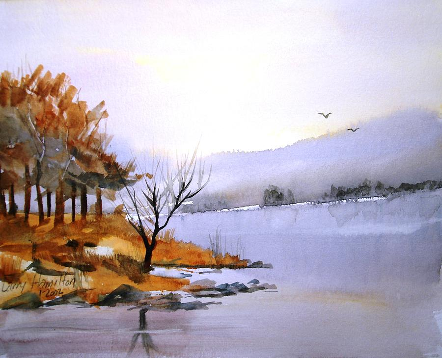 Watercolor Painting - Lake Ransom by Larry Hamilton