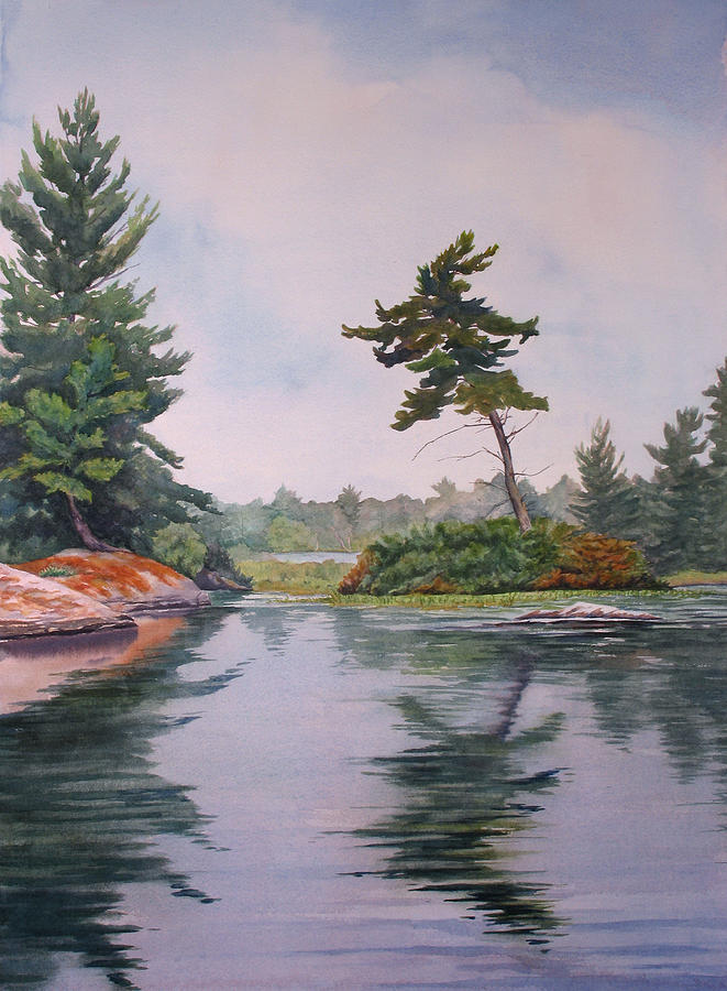 Lake Painting - Lake Reflection by Debbie Homewood